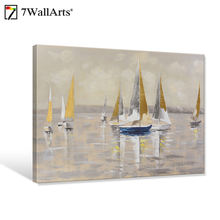 Hot Selling Landscape Canvas wall art painting,Vessel Oil Painting Framed wall art home decor