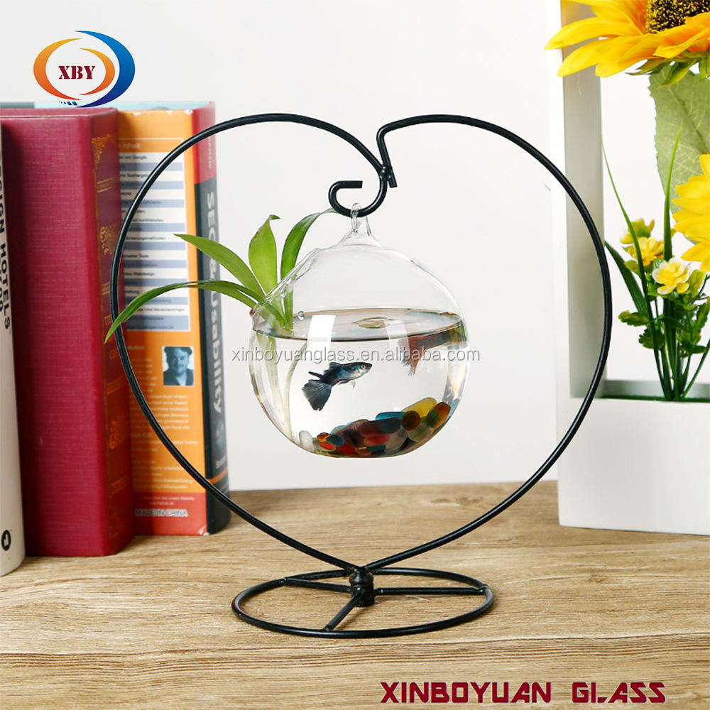 Multiple modeling glass hanging vase glass terrarium with metal stand