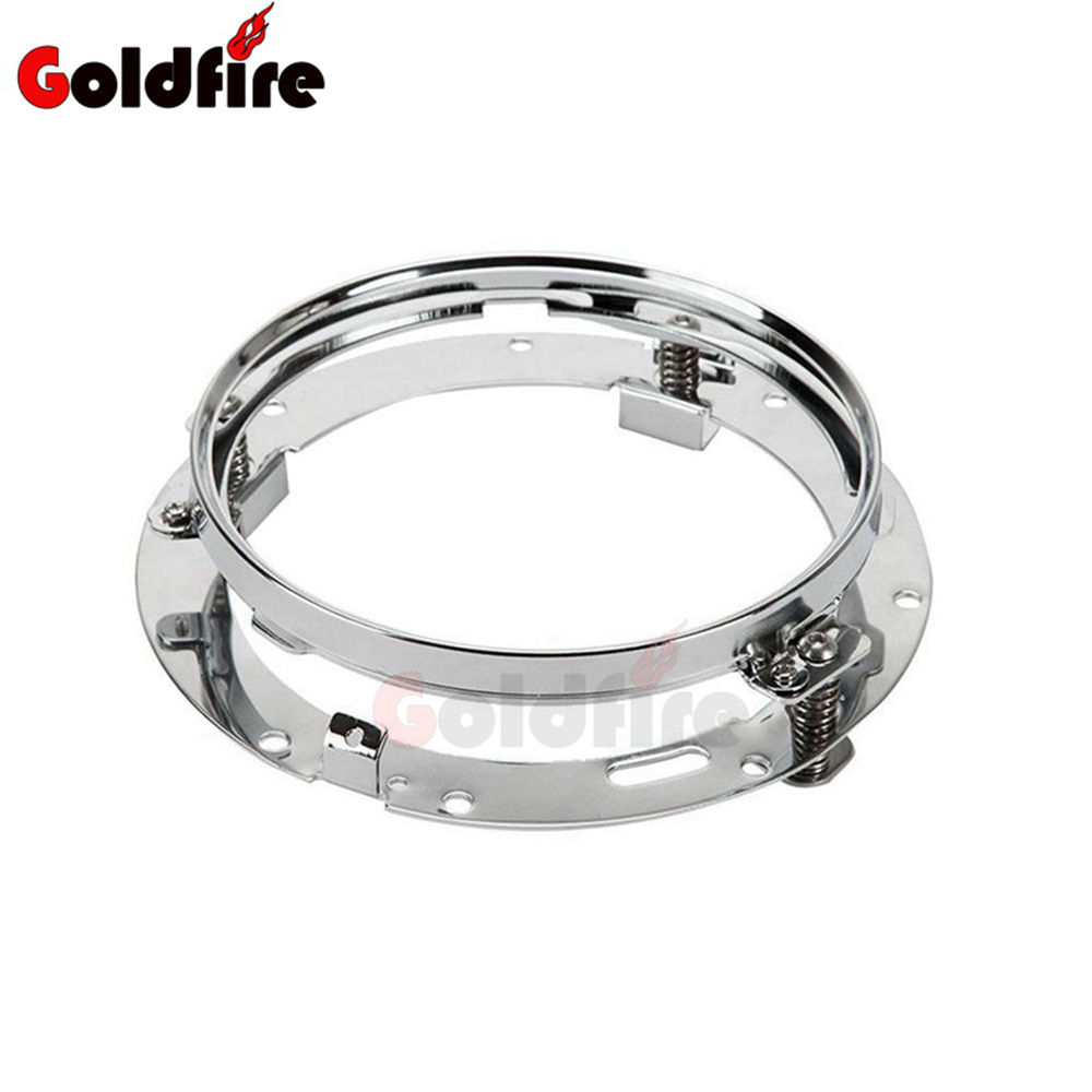 Goldfire Motorcycle Headlight Mounting Bracket 7 Inch Round Head Lamp Support Ring Compatibility For Harley