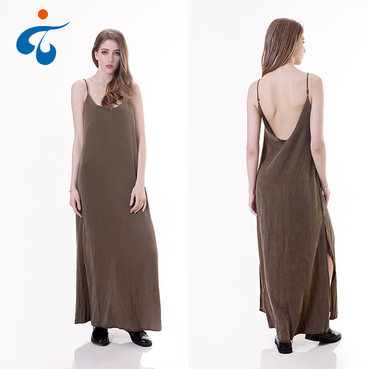 Low price of modern design women tencel sexy sleeveless backlesslong maxi one piece party tank dress
