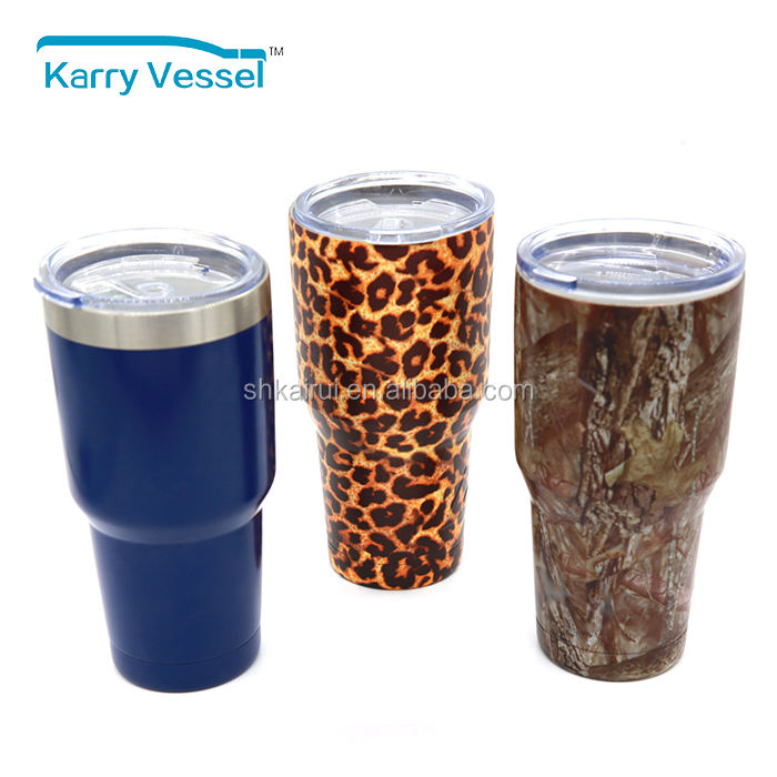 30 OZ Powder Coated Double Wall Cruiser Coffee & Tea Stainless Steel Vacuum Insulated Tumbler Cup Mug with Proof Lid