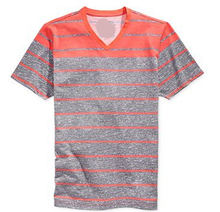 Fashion european style blank v-neck short sleeve wholesale tri blend striped t-shirts overruns