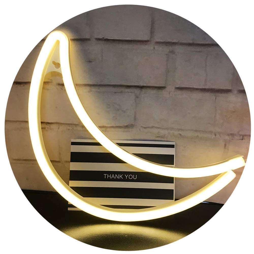 Design Led Signature Wall Decor Transparent Acrylic Writing Board Neon Light Moon Shaped Led Neon Sign for Christmas Decor