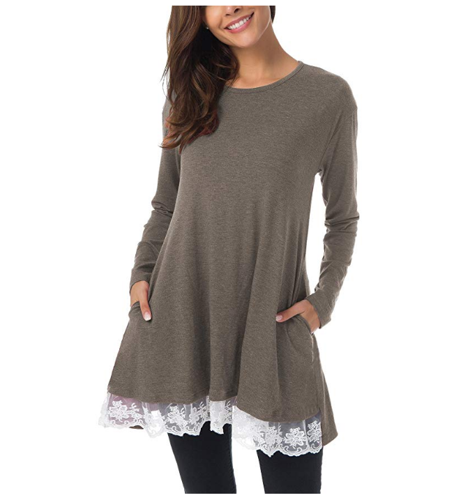 Women Lace Long Sleeve Tunic Top with Pockets Blouse Amazon specializes in selling long-sleeved lace hem T-shirts