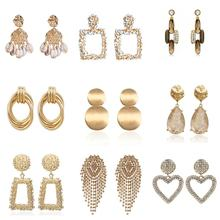 2019 fashion design diamond earrings jewelry geometric metal Drop earrings  wholesale for women