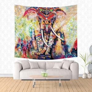 India Wall Hanging Flat Sheet Colorful Elephant Mandala Tapestry