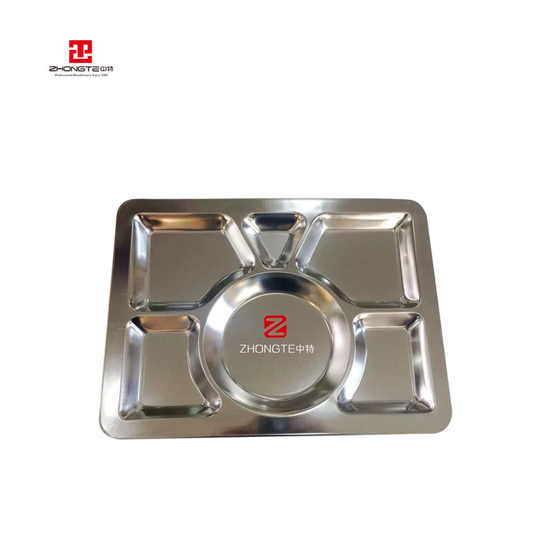 5 compartment stainless steel cheap retangular dinner plates hospital fast food tray