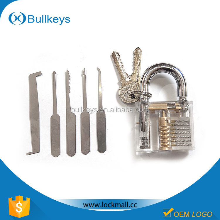 Bullkeys Transparent locks + 5 Piece Unlocking Lock Pick Set locksmith tool wedding gift for boy