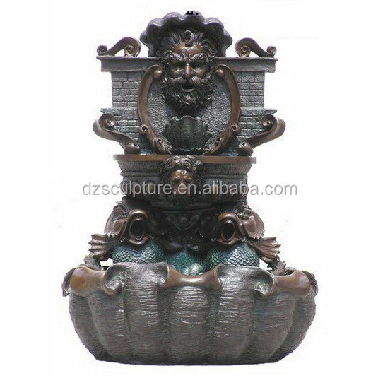 home decoration large cast bronze wall fountain with lion head