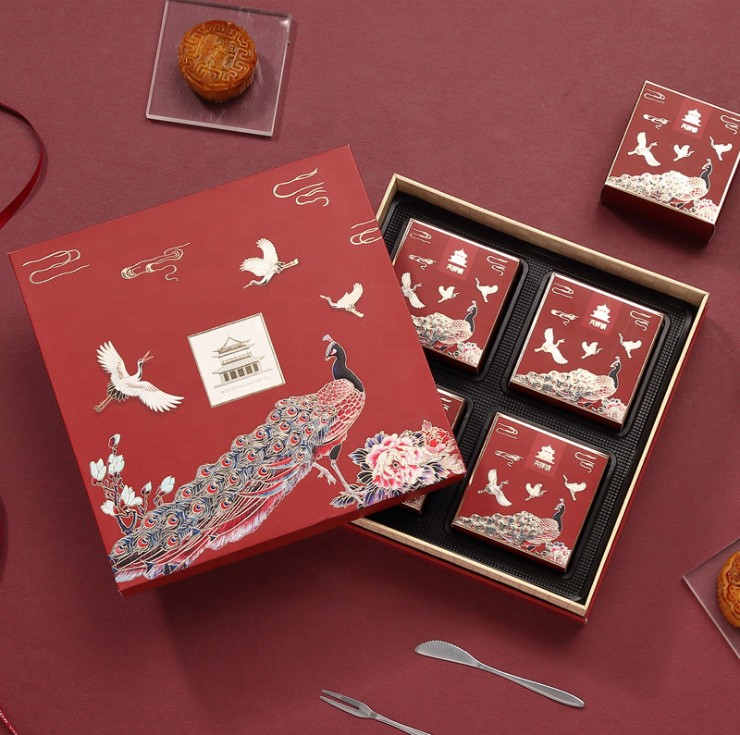Luxury Custom Paperboard Gift Box With Lid For Autumn Moon Cake