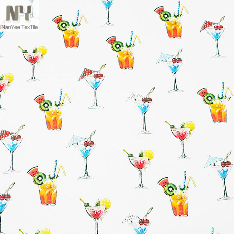 Nanyee Textile Wholesale Drinks Pattern Wine Cocktail Prints Fabric