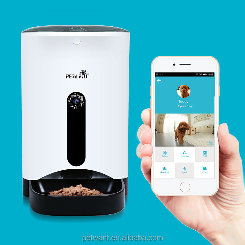 卸売oem受け入れる自動ペットフィーダースマートフォンアプリでwi-fiとウェブカメラ制御犬猫フィーダ