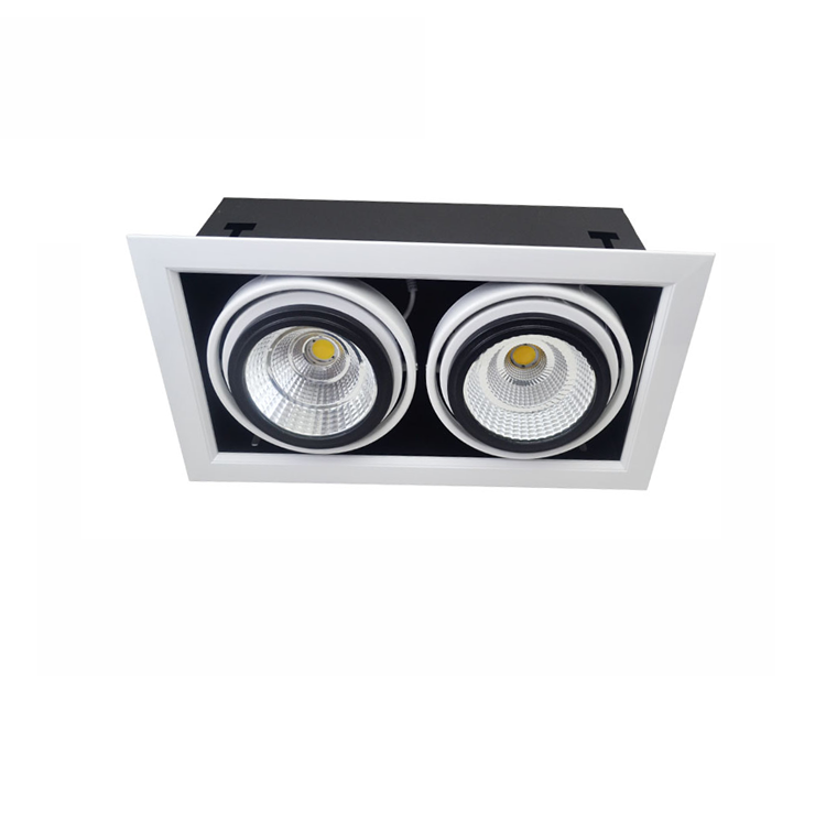 Black Housing Strobe Lights Double Head Adjustable Beam Angle 40W 4000K Square Led Grille Light For Hotel Shop