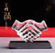 crystal Handshake shaped trophy blank awards and trophy glass plaque for business souvenir