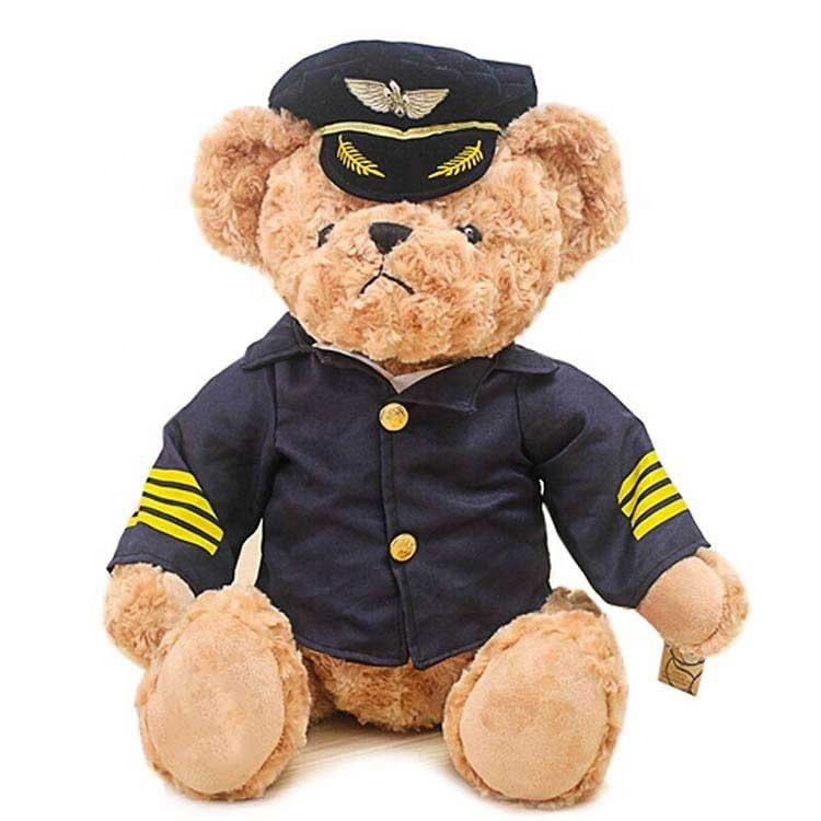 Cool Plush Captain Pilot Teddy Toy Rose Velvet Stuffed uniform Teddy Bear