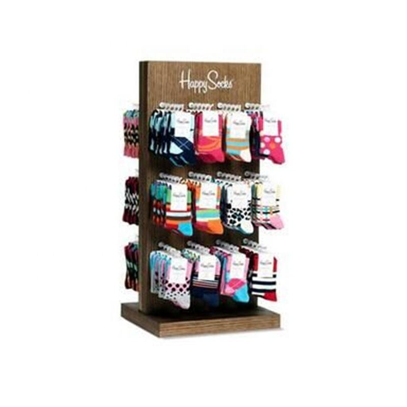 SK030w happysock holz socke rack arbeitsplatte Display MIT slatwall HAKEN Display