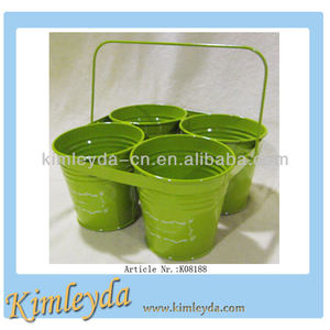 Set of 4 garden centr planter pot wholesal in green
