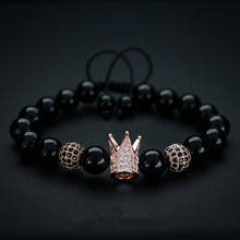 Wholesale fashion jewelry black bead rose gold plating crown bracelet