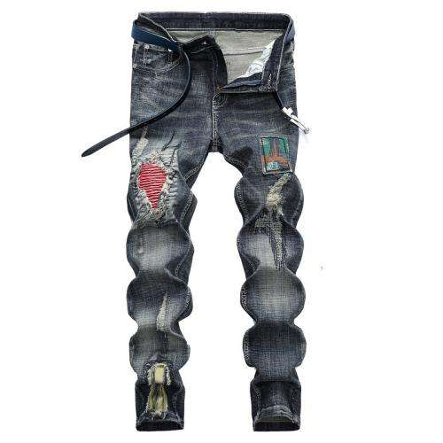New Denim Ripped Middle Waist Men Jeans hardwearing with different size for choice washed Others blue 250673