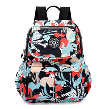 custom women girls college fashion colorful print floral nylon black backpack bags back pack
