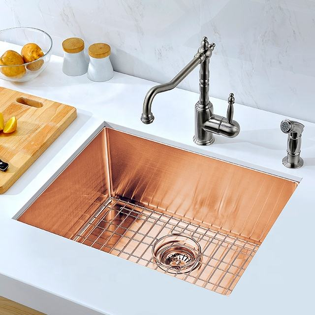 gold rose gold black silver nano High Quality ss 304 Stainless Steel Single Bowl Farmhouse handmade kitchen sink
