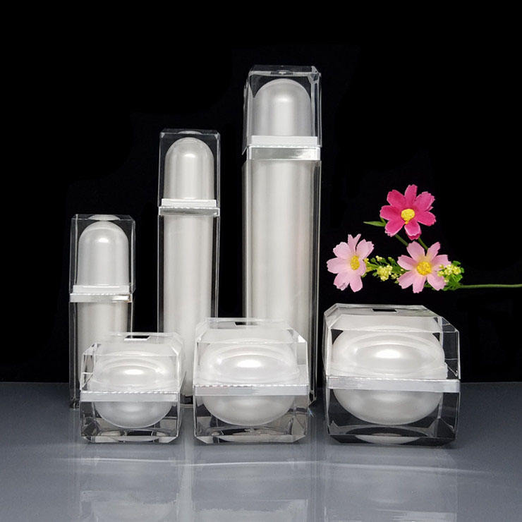 wholesale cosmetic packaging skin care use acrylic face cream jar and pump bottle