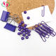 Metal Paper Clip Set Purple Color Metal Binder Paper Clip Map Push Pin Memo Pad Stationery Set