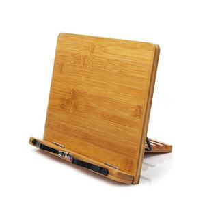 Portable Sturdy Lightweight Bamboo Book Stand With Adjustable Book Holder Tray