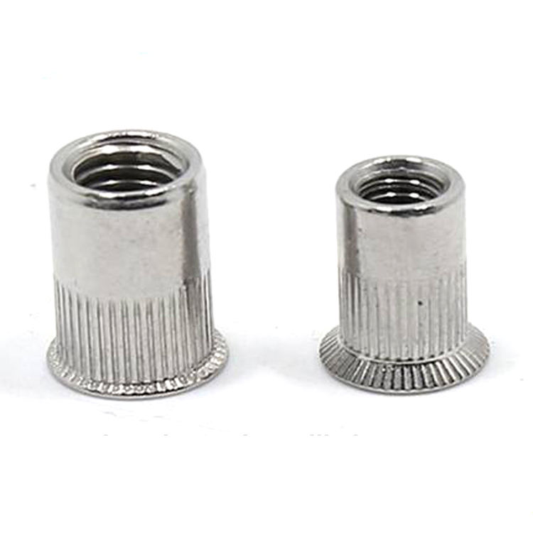 Closed Or Open End Flat Head Hexagonal Knurled Steel M8 Rivet Nut