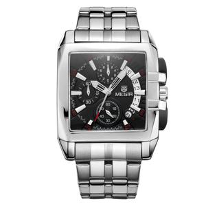 Build ur own brand square shape men stainless steel band megir watch with laser logo back