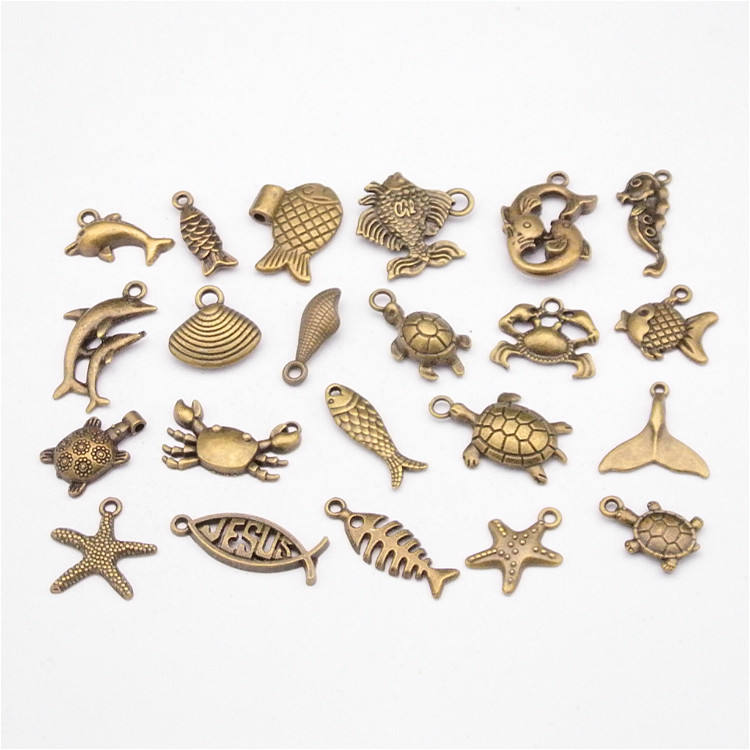 Hot sales vintage zinc alloy charms Antique bronze mix sea fish shell pendants charms for DIY Jewelry making