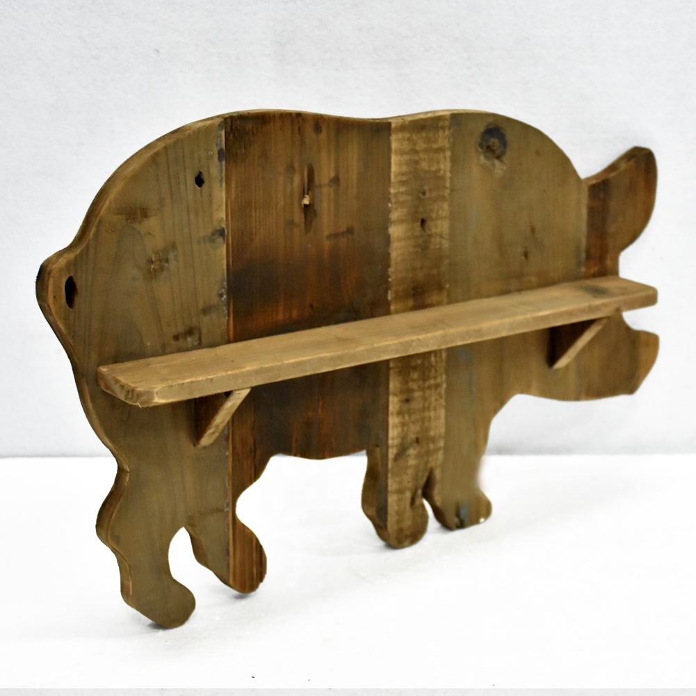 Handmade Solid Wood Pig Shape Antique Rustic Holzregal Storage Holders, Top Seller Home & Garden Wall Container Shelf