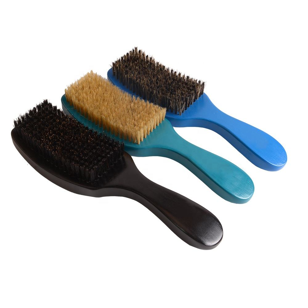 Top grade Eco-Friendly Custom logo boar bristle Various color for man curved wave brush