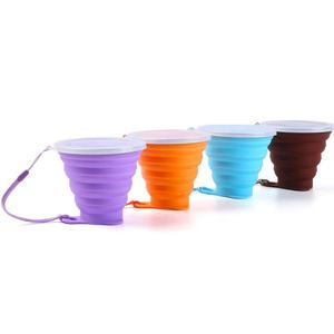 BPA Free Silicone Reusable Folding Coffee Cup Silicone Drinking Cup With Lid