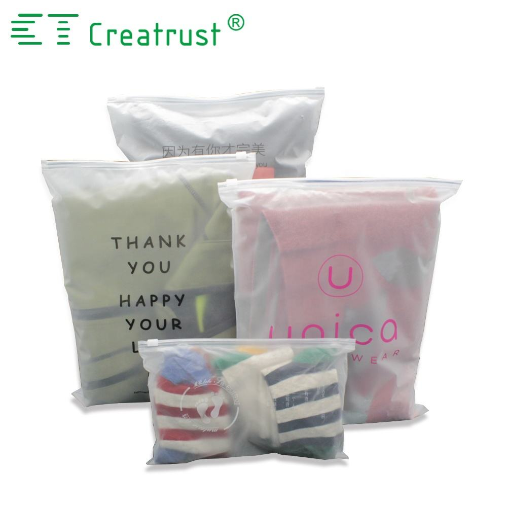 Custom plastic apparel bags zipper packing clothing bag with your own logo