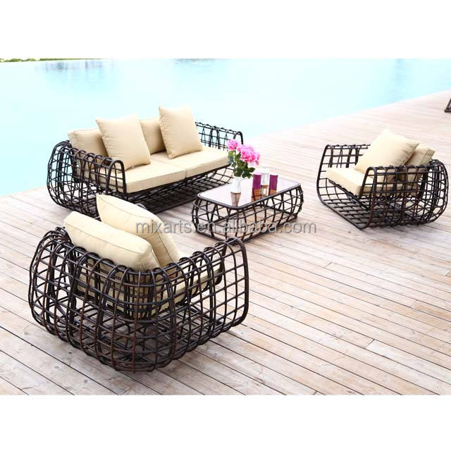 Garden furniture outdoor patio waterproof bamboo wicker rattan luxury designs set sofa chair