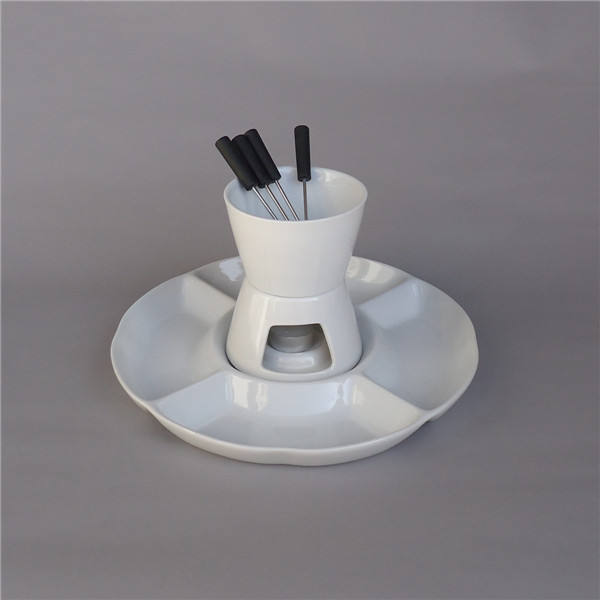 Grace creamy white ceramic chocolate fondue set with forks and snack plate