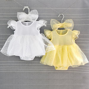 Wholesale romper type summer Princess Lace short sleeve newborn baby girl dresses infants toddler clothing baby girl clothes