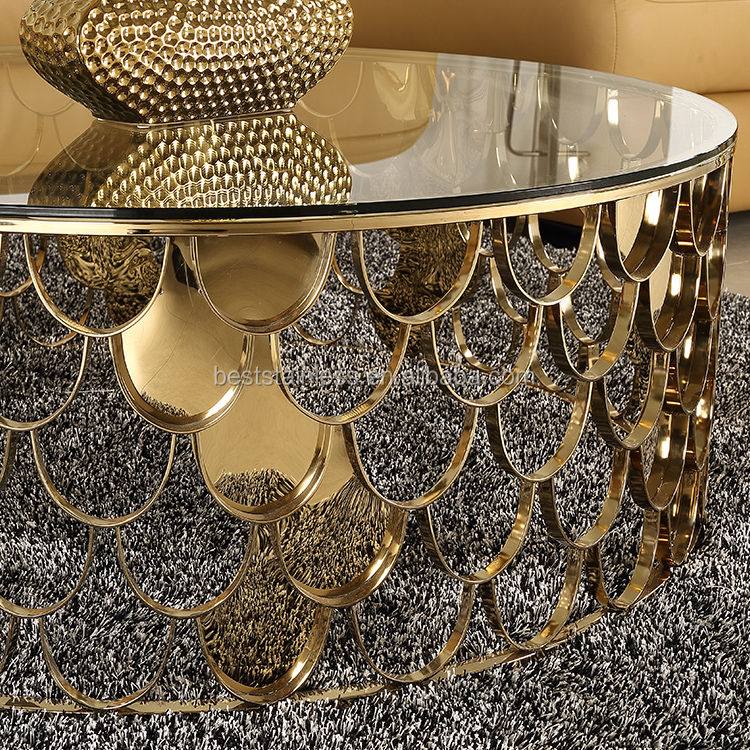 Stainless Steel Golden Tea Table Exotic Glass Coffee Tables