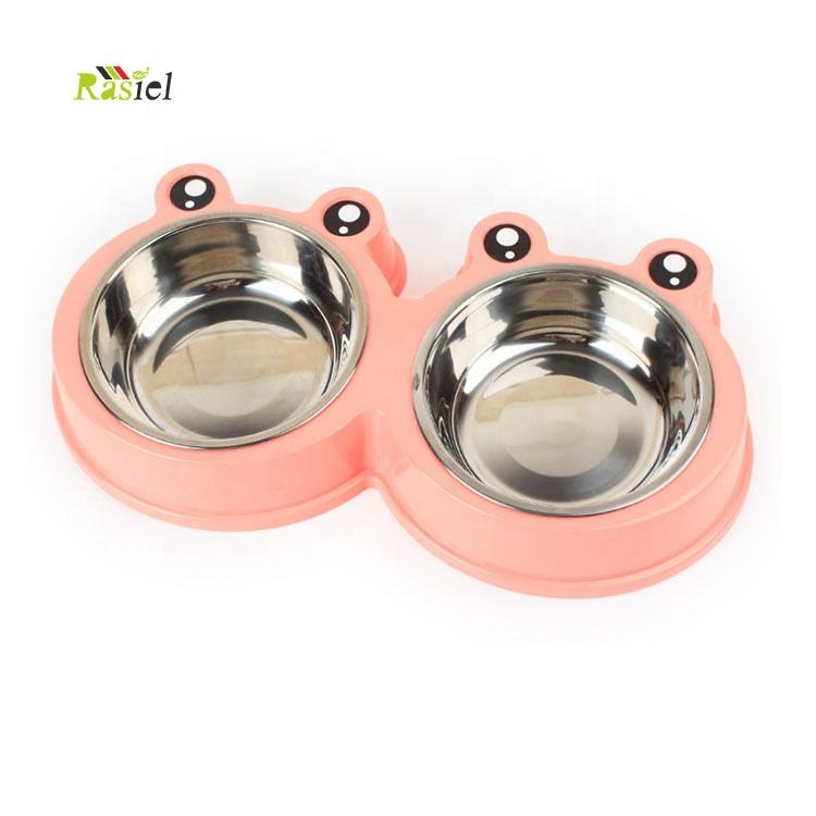 eco friendly plastic double novelty pet bowls feeder for pets stainless steel