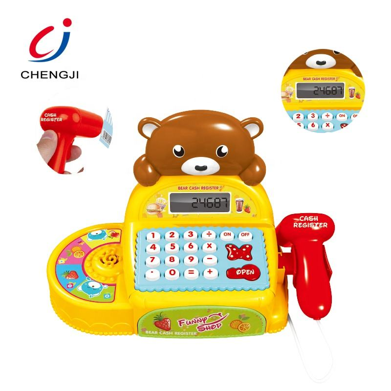 Educational supermarket pretend play toy plastic electronic cash register toy