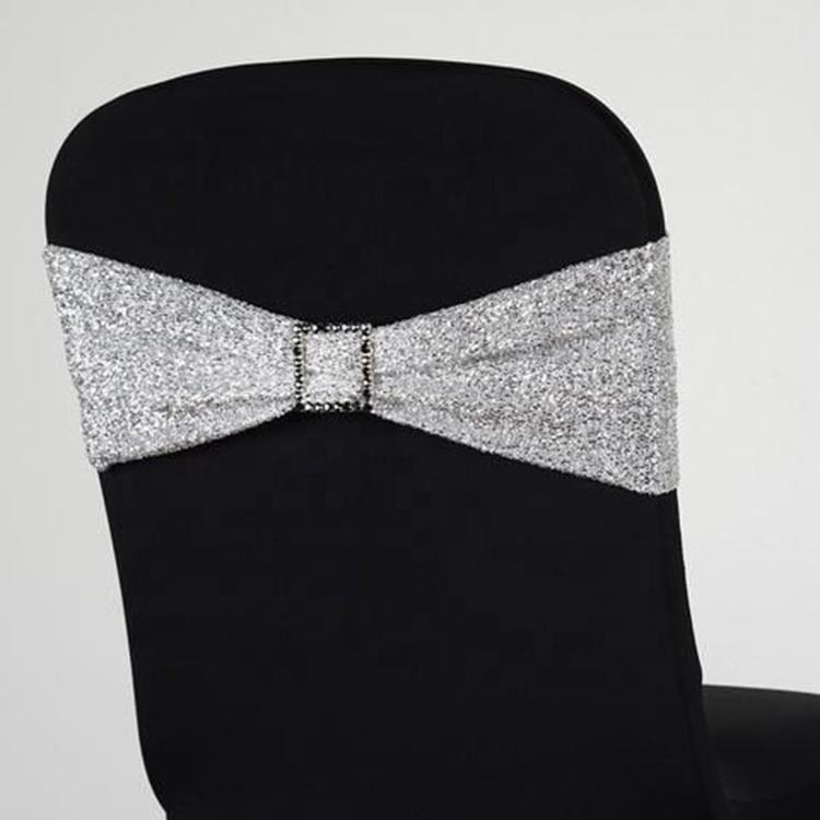 Factory Supplier gold shiny wedding chair sashes