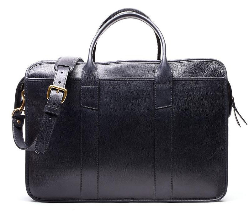 High Quality Classical Handmade Men's Full Grain Black Cow Leather Briefcase