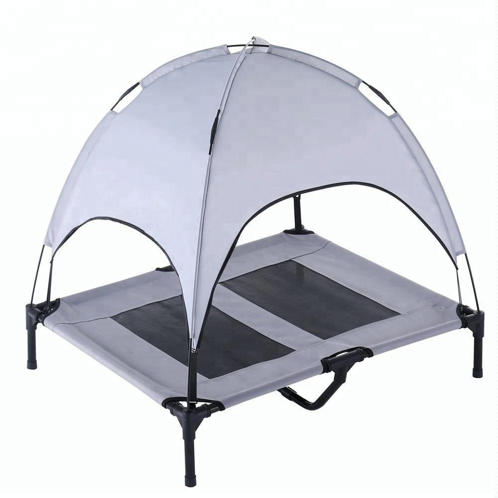 Innovative Outdoor Waterproof Travel Indestructible Foldable Cooling Mesh Wrought Iron Metal Cot Raised Pet Bed Dog Canopy Tent