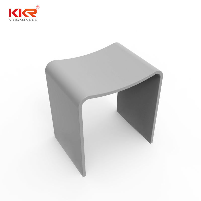 Stone Solid Surface Shower Stool Bench in Matte White