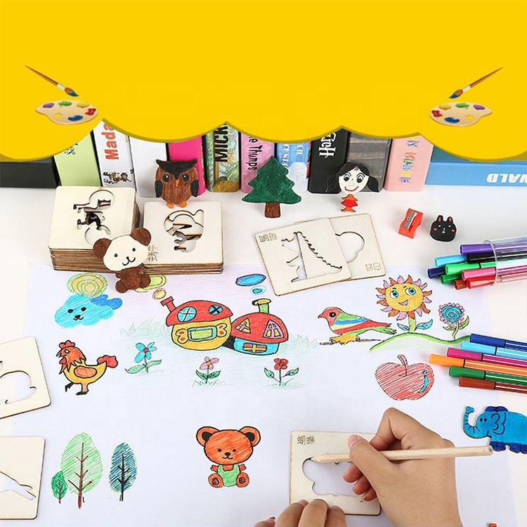 Painting Stencil Templates with Water Color Pen Set Creative Drawing Tools Gift for Kids