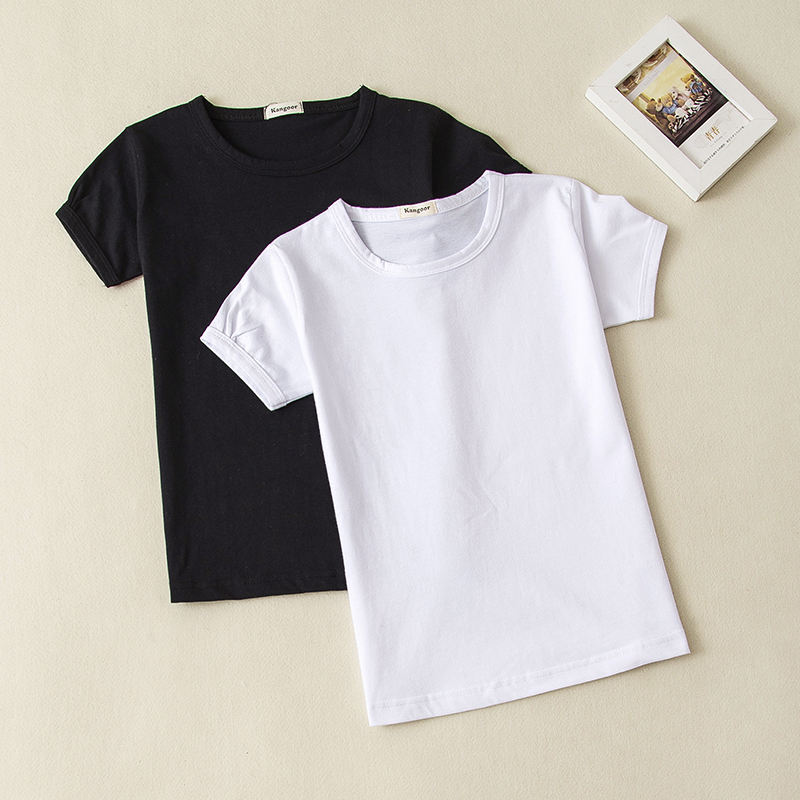 Girls Solid Color Short-Sleeve TシャツBaby Child Cotton Blank Top黒White Girl T Shirt 0-12 Years Old
