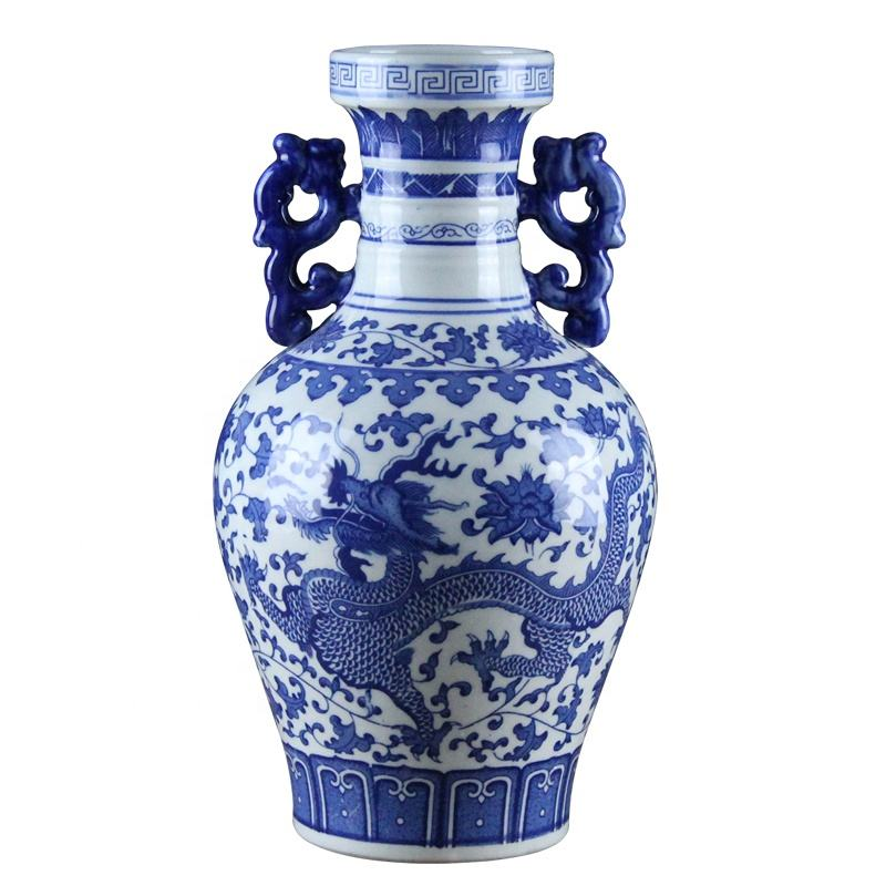 Chinese dragon pattern porcelain decor antique flower vase