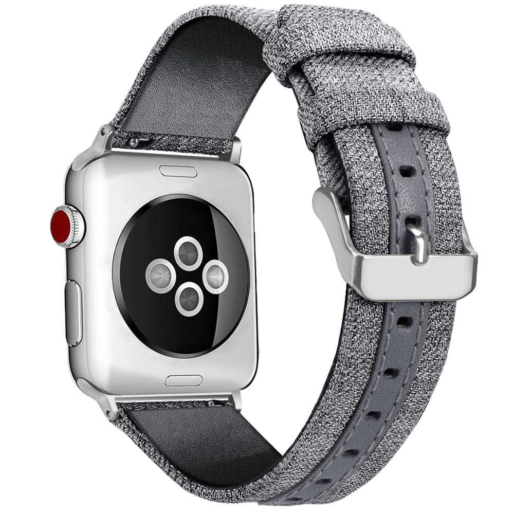 Elegant Design Nylon Canvas Leather Strap Watch Band for Apple Watch Series 1/2/3/4