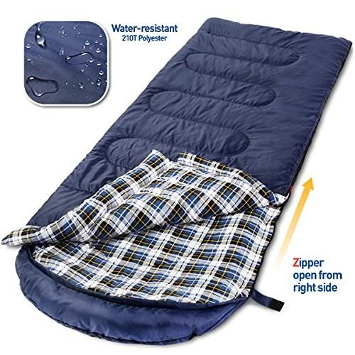 Wholesale compact navy blue 100% cotton flannel plush sleeping bag
